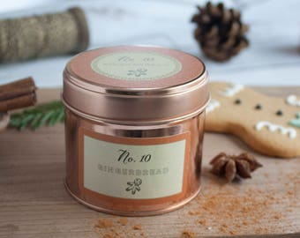 Gingerbread - scented - christmas candle - Christmas gift - soy candle, essential oils, rose gold, candle tin - holiday fragrance, hygge