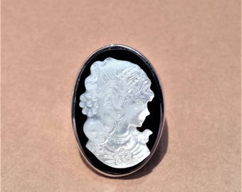 Mother of Pearl Cameo Sterling Silver Ring