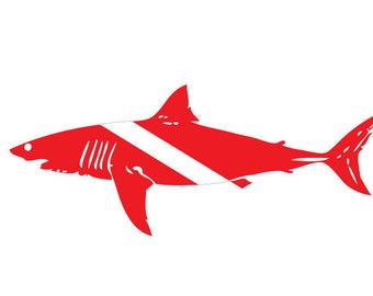 Shark Dive Flag Vinyl Decal Sticker