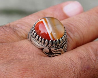 antique handmade Silver Carnelian stone turkmen statement AQEEQ  ring from Afghanistan No:435