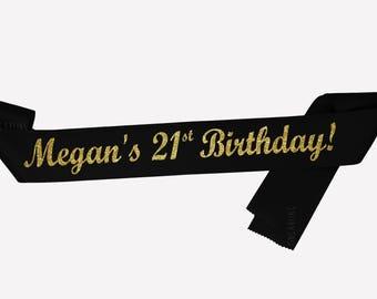 21st birthday sash, 21st Birthday Gift for woman, Twenty First Birthday Gift, Personalized Birthday Sash, Party Sash, celebration sash