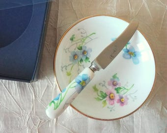 Crown Fine Bone China Butter Dish & Knife from Staffordshire, England