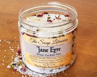 Jane Eyre Bath Salts - White Tea - Book Lover Gift, Teacher Gift For Writer, Literary Gift, Bath Soak, Sea Salt, Book Wedding, Book Theme