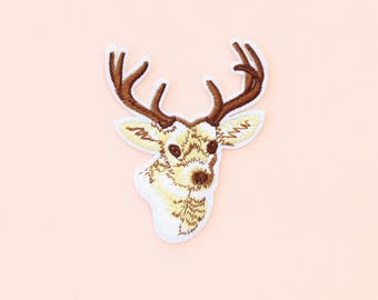 Deer embroidered patch, animal patch, Iron on Patch, clothing patches, patches for jackets, Autumn patches