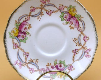 Roslyn Fine Bone China Saucer - Terry pattern - 1940s
