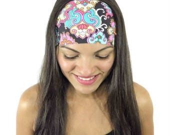 Yoga Headband Workout Headband Summer Running Headband Hippie Headband Boho Turban Fashion Wide Headband Floral No Slip Women Headband S123