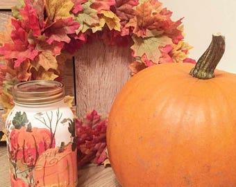 Hand made Autumn pumpkin mason jar