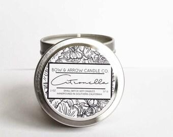 Citronella Natural Soy Candle 2 oz | Eco-Friendly Candle | Soy Candle | Citrus Candle | Spring Candles | Gift Idea | Citronella Scented