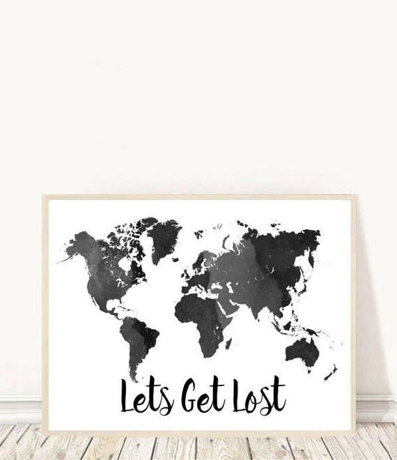 Lets get lost map print black world map printable art lets get lost map print black world map printable art watercolor map world map print travel poster home decor instant download sciox Image collections