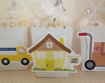 Moving, Packing Party Popcorn or Favor Boxes - Set of 10