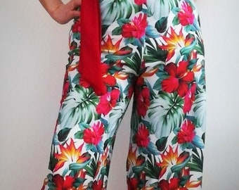 Jumpsuit, Womens Clothing, party dress, Jumpsuits & rompers, Jumpsuit tropical pattern in crepe