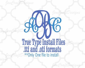 Fancy Interlocking Curly Monogram Font in True Type format .TTF & .OTF Installable Font for Cricut, Design Space, Microsoft Word and more