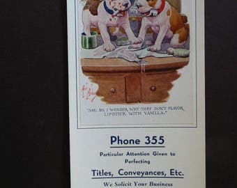 PIT BULL PUPS Vintage 1925 Robert Dickey Signed Advertising Ink Blotter La Porte Indiana