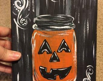 Halloween Jack-o-Lantern Mason Jar | Rustic Halloween | Wooden Halloween Plaque | Vintage Style Halloween
