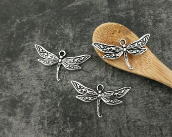 Dragonfly pendant, butterfly pendant, butterfly, silver, Metal Dragonfly charms 32 mm x 17 mm