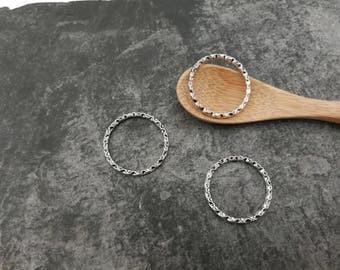 Ethnic tribal boho, silver, 22 mm rings, hammered rings