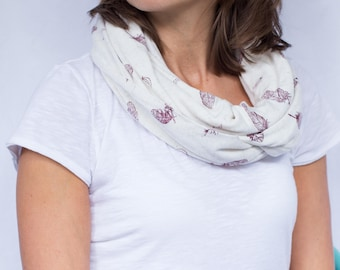 Burgundy Feathers on Cream Infinity Scarf