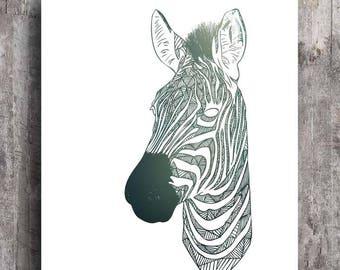 Zebra Print, Animal Art, Geometric Illustration, Horse Art Print, Stripes, Apartment Wall Art, Horse Poster, Home Wall Decor, Zebra, Gift