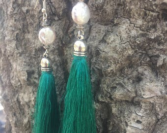 Teal tassels with pearls