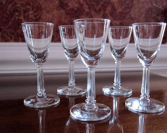 Small Clear Glass Stem Cordial Glasses Set Of Five,  Miniature After Dinner Liqueur Glasses, Vintage 1980s