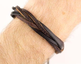Mens Leather Wristband, Men Braided Bracelet, Braided Men Bracelet, Brown Leather Bracelet, Mens Leather Bracelet, Brown Braided Bracelet