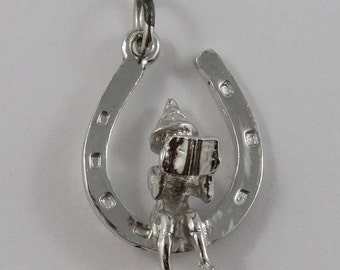 Elf Reading on a Horseshoe Sterling Silver Vintage Charm For Bracelet