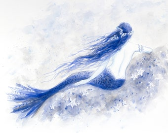 Blue Mermaid Waiting, 5x7 Greeting Card, print from original watercolor by Tina Obrien, Mermaid Art, Beach Art, nautical, ocean