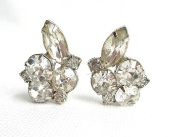 Gorgeous Large Clear Chaton Rhinestone and Marquise Rhinestone Clip Back Vintage Earrings