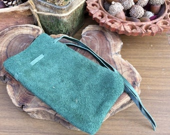 Hand Crafted Green Leather Suede Drawstring Pouch Medieval
