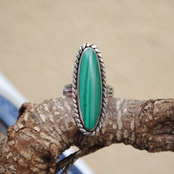 Malachite ring - Vintage ring - Boho ring - Vintage jewelry - Woman ring