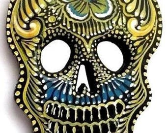 Day of the Dead Skull // Painted Wood Sugar Skull // Mexican Folk Art // LG 11x8,  #1
