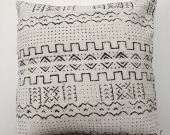 Mudcloth Pillow Cushion Cover / African Mali Mud Cloth Bogolan