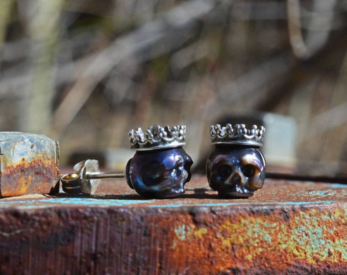 Featured listing image: Carved Pearl Skull Earrings Wearing Sterling Silver Crowns with Sterling Silver Backs - Gift - Pearl Earrings - Valentine's Jewelry