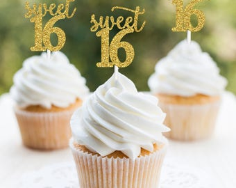 Sweet 16 cupcake topper, Sweet 16 Party Decorations, Sweet 16 Party Decor, Sweet 16 Birthday Party Cake Topper, Girl 16th Cupcake, Sweet 16