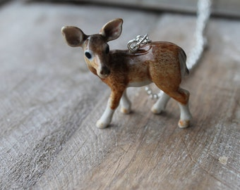 Doe deer ceramic necklace