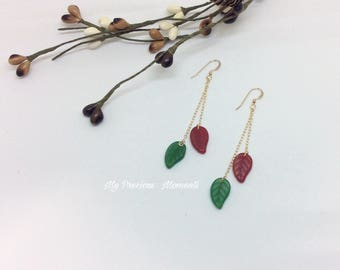 14k gold filled earrings. Christmas leaves dangle earrings. Red green Xmas leaves drop earrings. Bridal earrings. Bridesmaid earrings.