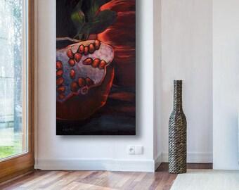 Canvas Art, Black Canvas Art Living Room Decor, Canvas Print Pomegranate Art, Large Wall Decor, Black Artwork, Large Canvas Art