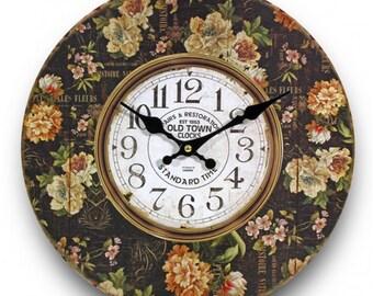 colorful, shabby chic wall clock, vintage wall clock, black wall clock