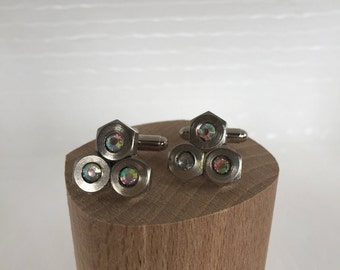 Unusual cufflinks with rhinestones