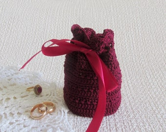 Anniversary gift bag Mother in law gift Wedding gift for Mother of bride gift Bag crochet Bag burgundy Gift for women Gift autumn gift