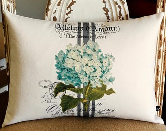 Blue Hydrangea pillow cover Spring Summer French ephemera floral flower 12x16 canvas cottage chic cushion #249 FlossieandRay