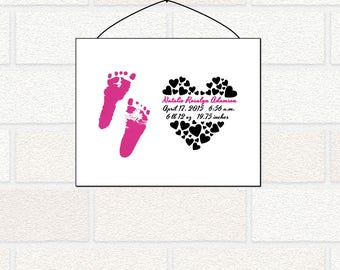 Personalized Baby Footprints Birth Stats Wall Art Print, Unique Baby Shower Gift for Baby Boy Baby Girl, Personalized Gift for New Mom Dad