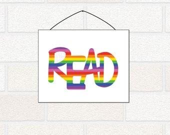 Read Printable - I love to read - Rainbow Kids Room - Playroom Wall Art, Read Wall Art, Colorful Kid's Room, Rainbow Read, reading library