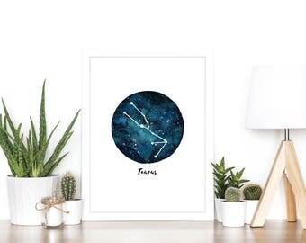 Taurus Zodiac Luxury Watercolour Illustration Print - A5 or A4