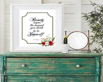 Coco Chanel, Beauty Begins the Moment You Decide to Be..., Coco Chanel Quote in Printable Wall Art, Instant Download Quote By Coco Chanel