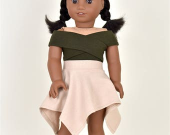UnEven Skirt Color Tan 18 inch doll clothes