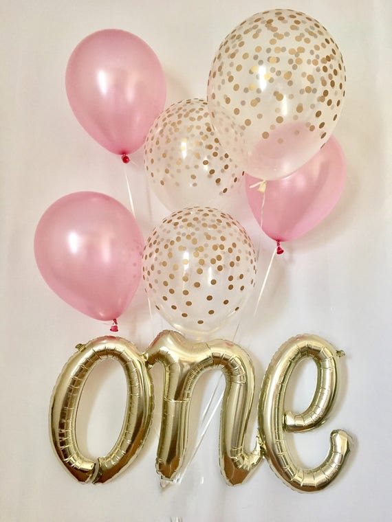 one script balloonone balloonpink gold first birthday. Black Bedroom Furniture Sets. Home Design Ideas