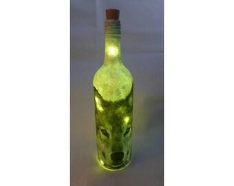 siberian husky lamp,siberian husky gift,decoupage bottle upcylced bottle,dog lover gift,wine bottle light, LED bottle, wine bottle, husky