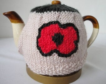 poppy design teacosy, beige/red tea cosy, 2-cup tea-pot cover, knitted teapot cosy, poppy tea pot cover, tea-lovers gift, housewarming gift