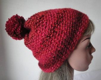 woman hat red, vegan knit cap, unisex sports hat, pompom beanie, chunky red hat, red-multi cap, winter warmer, ski-wear, outdoor sports cap